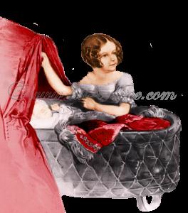 De kleine Sisi in haar wieg in bijzijn van haar moeder en zus.