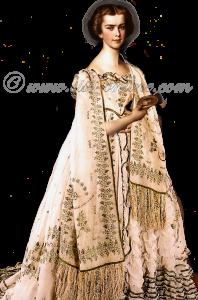 Sisi, keizerin Elisabeth van Oostenrijk. Elisabeth draagt het Polterabendkleid