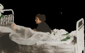 Elisabeth opgebaard in het hotel waar ze overleed, scene uit een film.