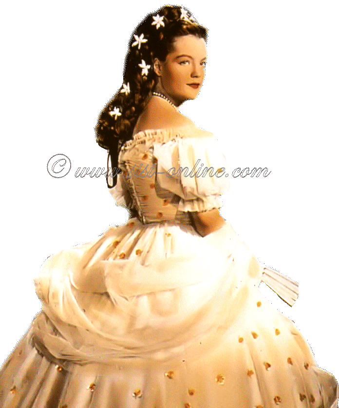 Romy Schneider als keizerin Elisabeth, bekend van de Sissi films.